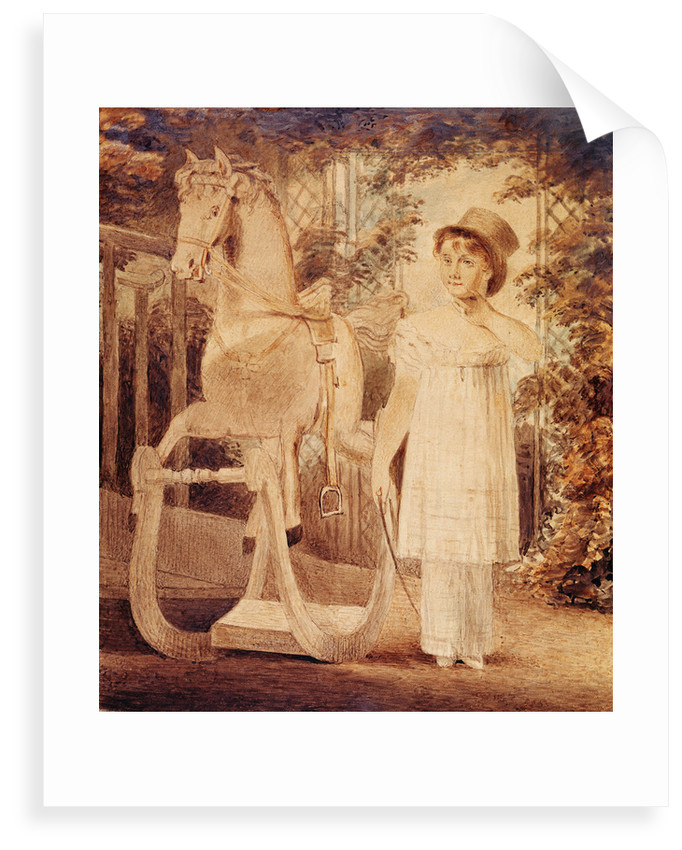 Horatia Nelson in top hat, dress and pantaloons with a rocking horse by unknown