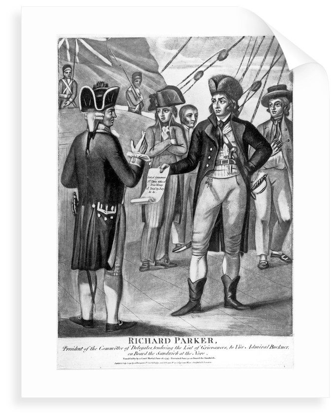 Richard Parker, President of the Committee of Delegates, tendering the list of grievances to Vice Admiral Buckner, on board the 'Sandwich' at the Nore by unknown