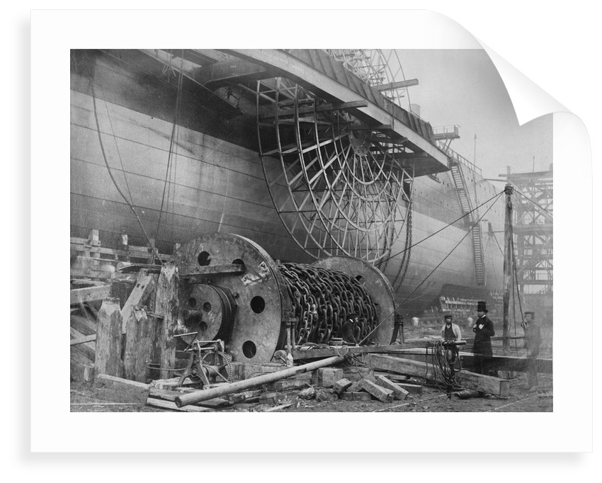 Detail view of 'Great Eastern' prior to her 1858 launch by Robert Howlett
