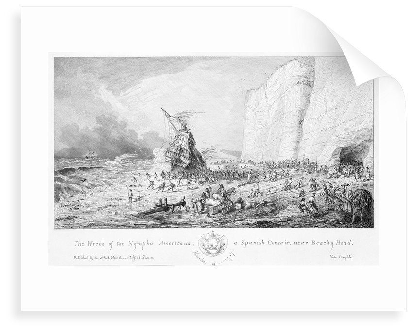 The wreck of the 'Nympha Americana', a Spanish corsair, near Beachy Head, 29 November 1747 by Newick