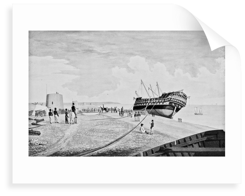 A view of the East Indiaman 'Thames' as she lay stranded near Eastbourne in February 1822 by Charles Ade