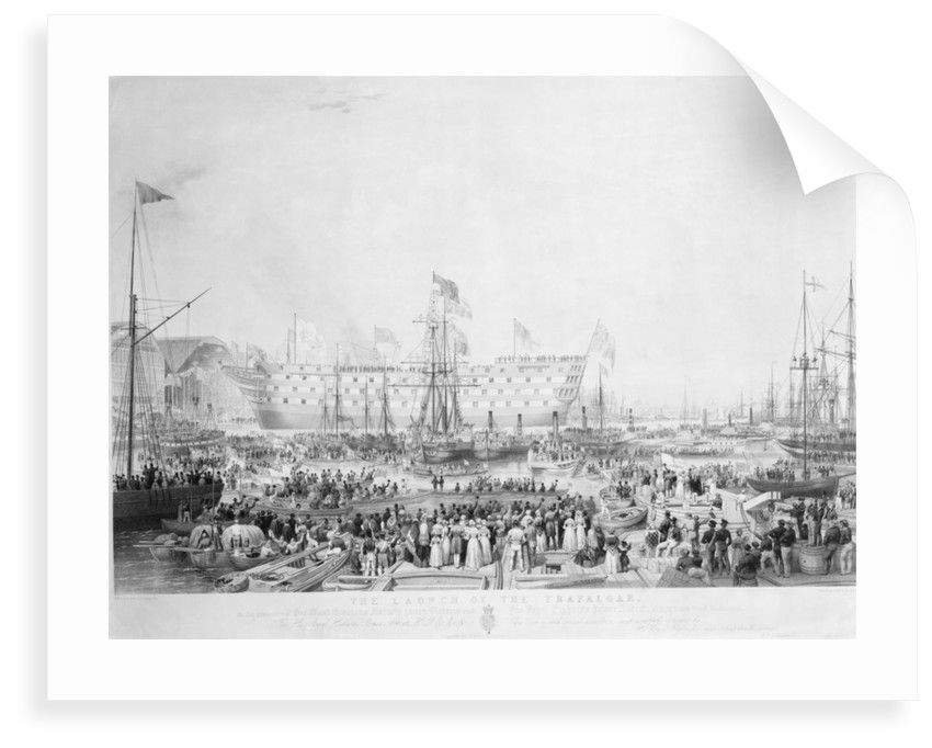 The Launch of the Trafalgar, in the presence of Her Most Gracious Majesty Queen Victoria and His Royal Highness Prince Albert, at H.M.Dock Yard, Woolwich... by William Ranwell