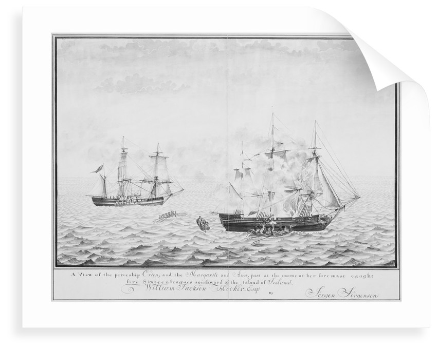 A view of the prize ship 'Orion' and the 'Margarite' and 'Ann' just at the moment her foremast caught fire xixteen leagues southward of the island of Iceland, circa 1808 by Jorgen Jorgensen