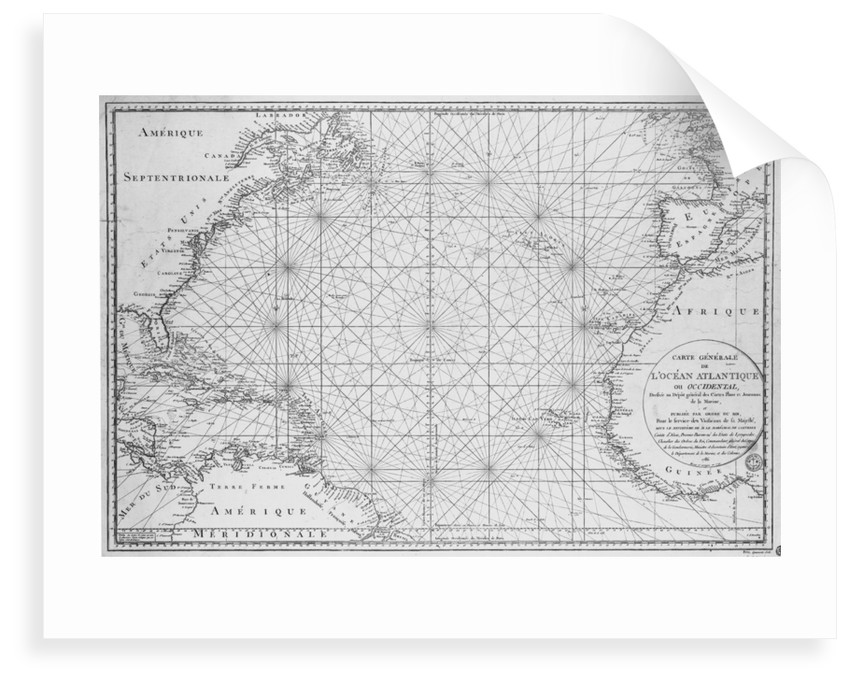 Printed chart of the North Atlantic Ocean by French Admiralty by Depot De La Marine