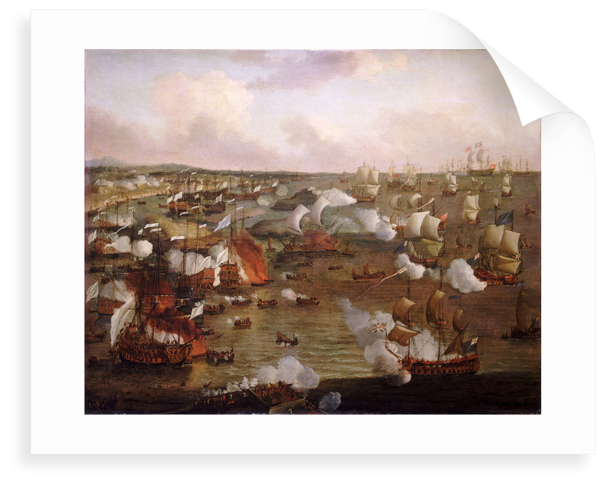 The burning of French ships at the Battle of La Hogue, 23 May 1692 by Willem Van de Velde the Younger