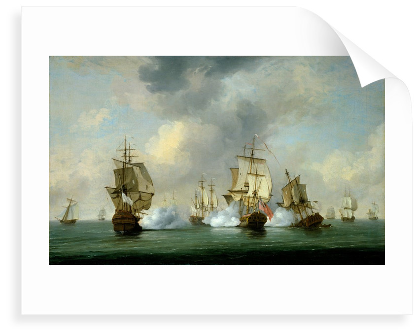 Commodore Walker's action: the Privateer 'Boscawen' engaging a fleet of French ships, 23 May 1745 by Charles Brooking