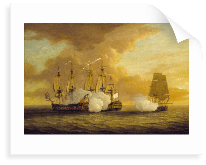 Action between HMS 'Lion' and 'Elizabeth' and the 'Du Teillay', 9 July 1745 by Dominic Serres the Elder