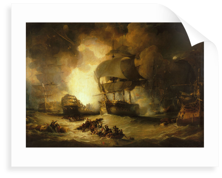 The destruction of 'L'Orient' at the Battle of the Nile, 1 August 1798 by George Arnald