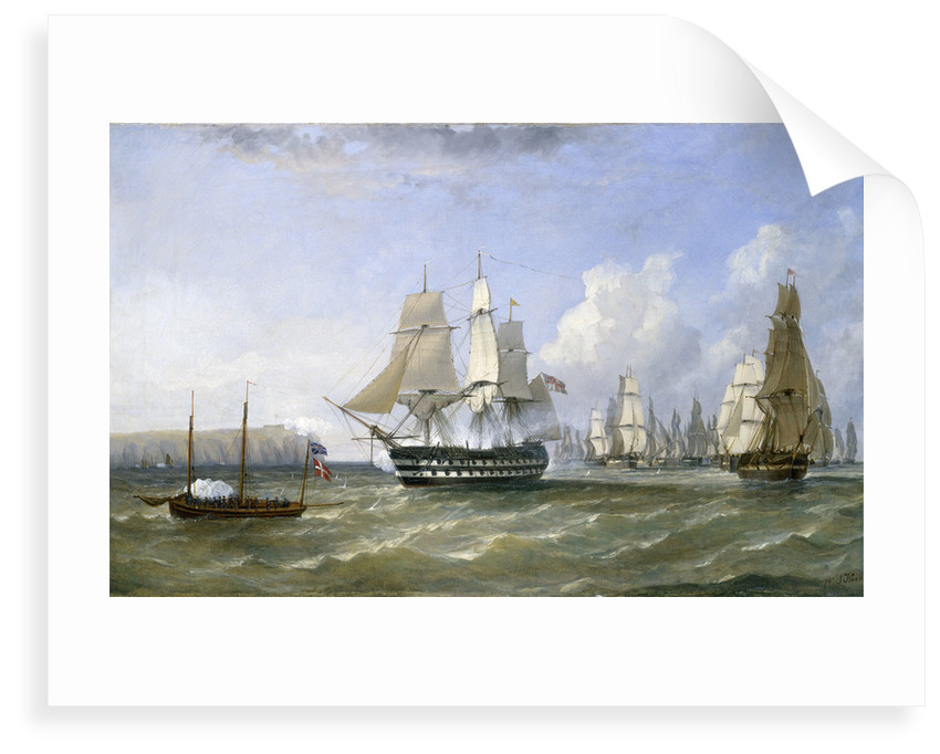 HMS 'Warrior' protecting a convoy passing Reefness, September 1807 by William Adolphus Knell