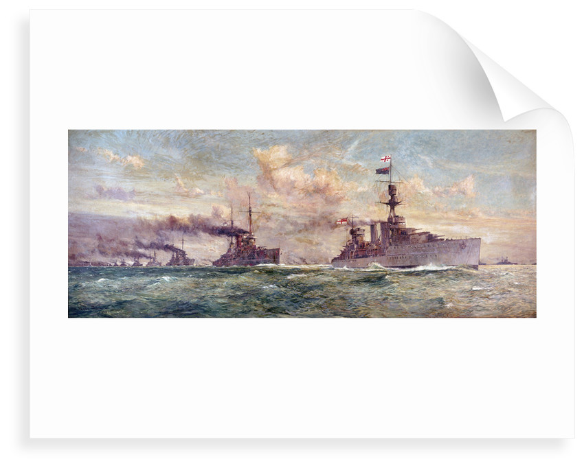 HMS 'Cardiff ' leading the  German High Seas Fleet to surrender in the Firth of Forth, 21 November 1918 by Charles Dixon