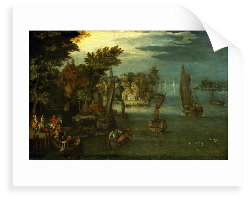 A busy river scene with Dutch vessels and a ferry by Jan Brueghel the Elder