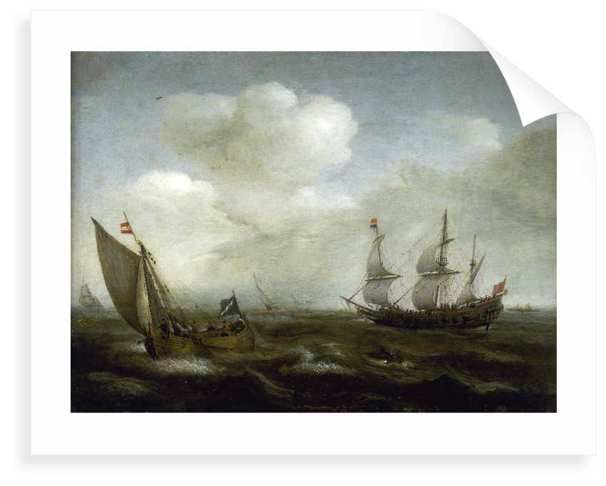 A Dutch ship and fishing boat in a fresh breeze by Hendrick Cornelisz Vroom