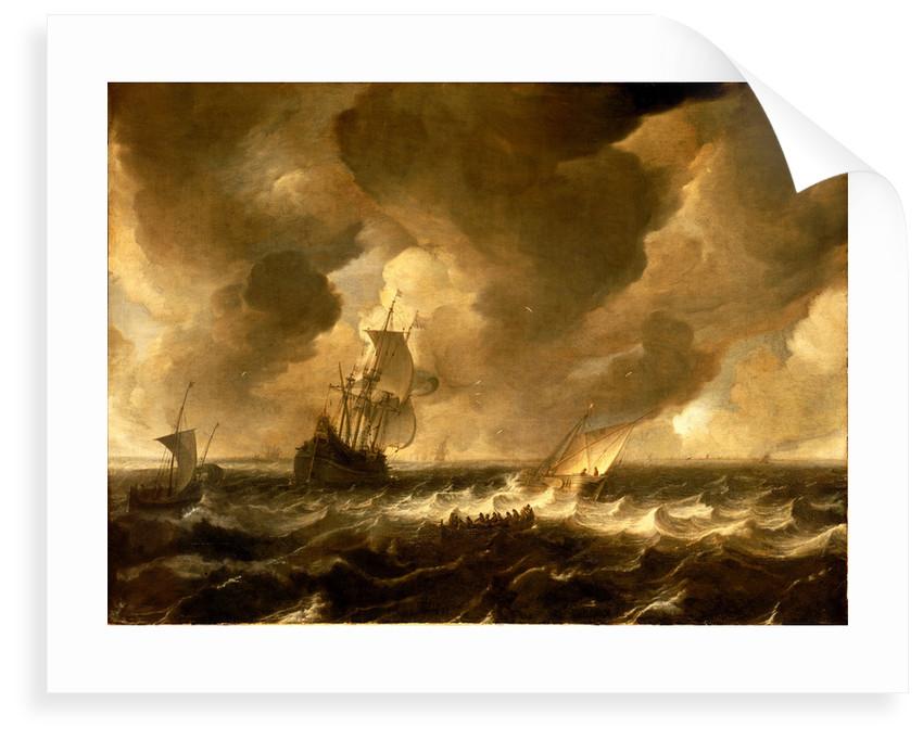 A flute and other vessels off the Dutch coast by Pieter de Zeelander