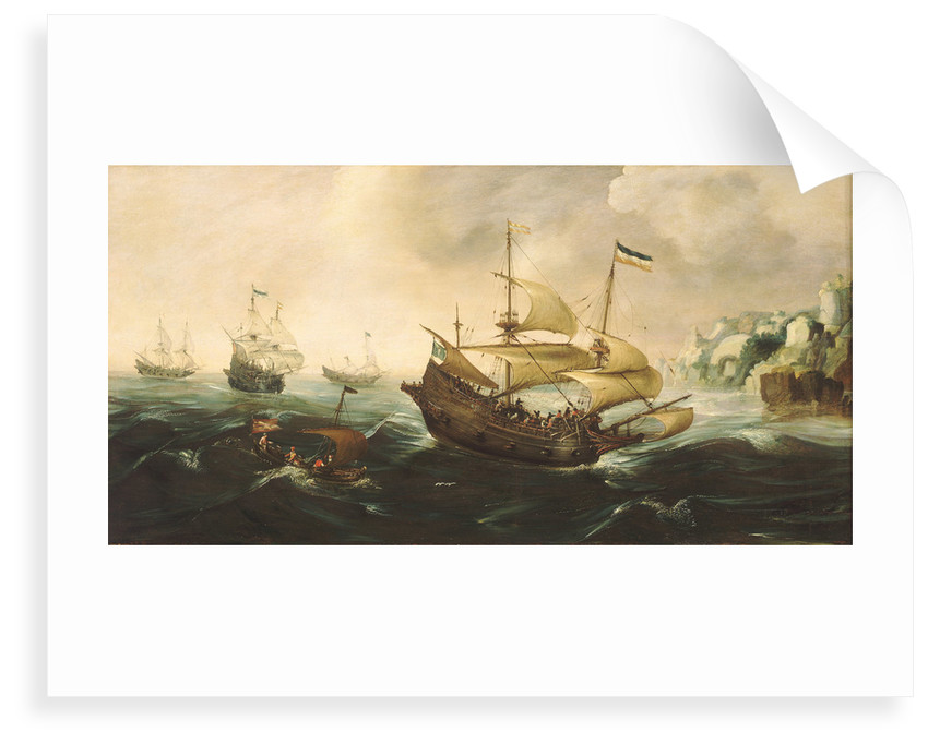 Dutch ships running down onto a rocky shore by Andries van Eertvelt