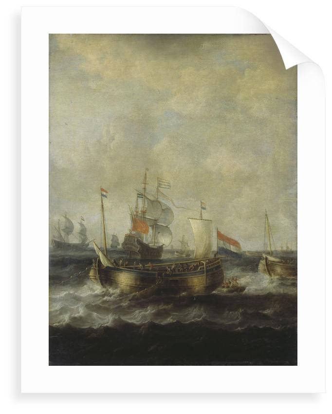 Dutch Indiamen passing herring busses by Bonaventura Peeters the Elder