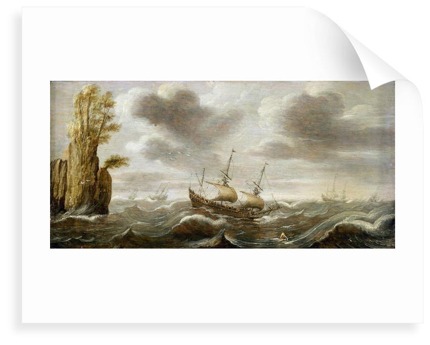 Dutch ships in a rough sea by Cornelisz Verbeecq