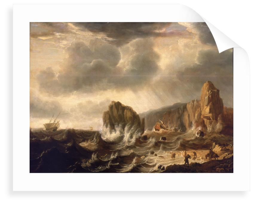 A ship wrecked off a rocky coast by Simon de Vlieger