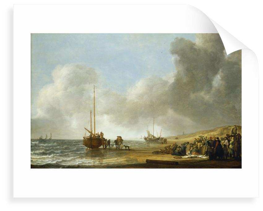 The beach at Scheveningen by Simon de Vlieger