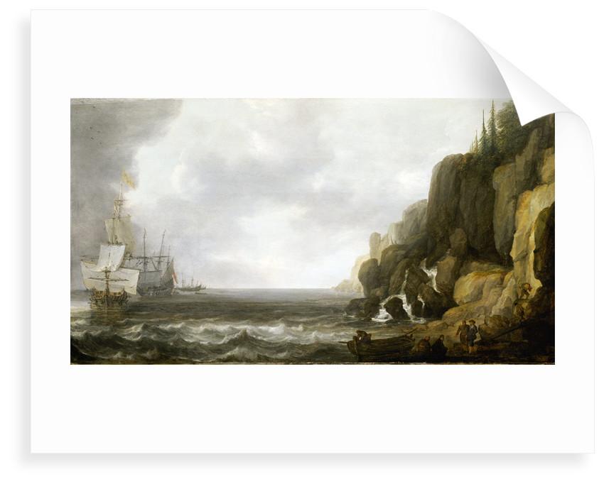 Dutch ships revictualling off a rocky coast by Simon de Vlieger