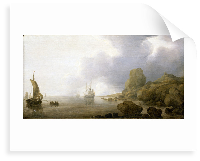 Ships becalmed on a rocky coast by Simon de Vlieger