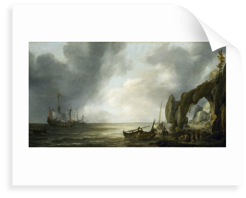 Dutch men-of-war off a craggy coast by Simon de Vlieger