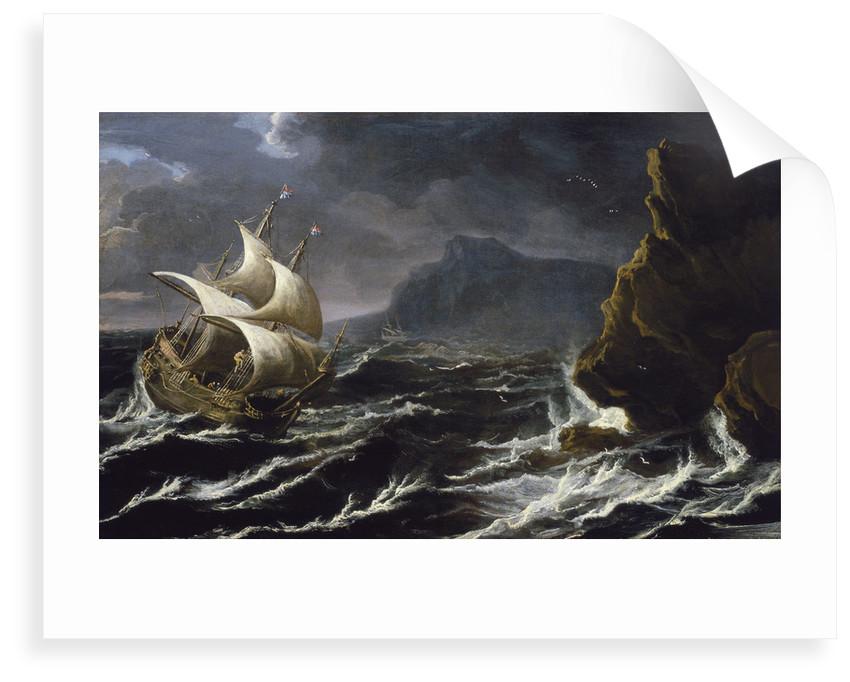 A Dutch ship running on to a rocky coast by Matthieu van Plattenberg