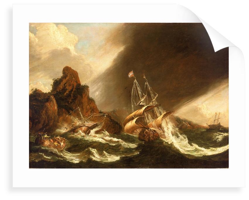 A fleet of East Indiamen at sea by Matthieu van Plattenberg