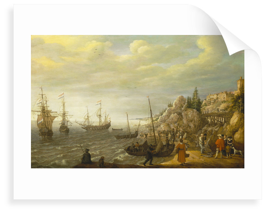 Dutch ships at anchor off a fortified Scandinavian town by Adam Willaerts