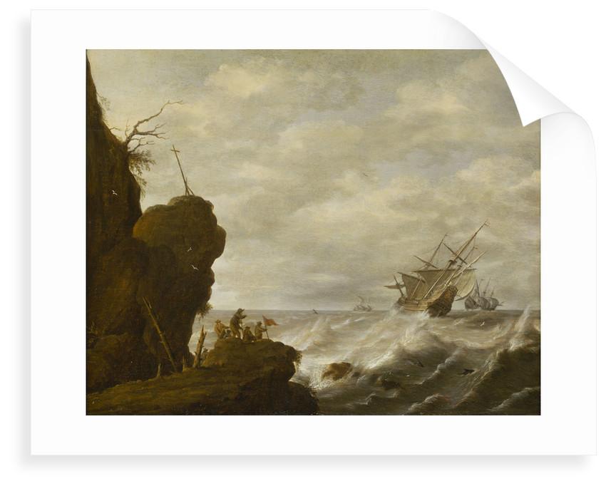 A Dutch ship in a breeze off a rocky coast by Pieter Mulier