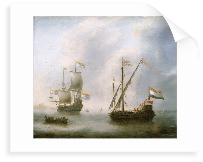 A galley and a man-of-war by Jacob Adriaensz Bellevois