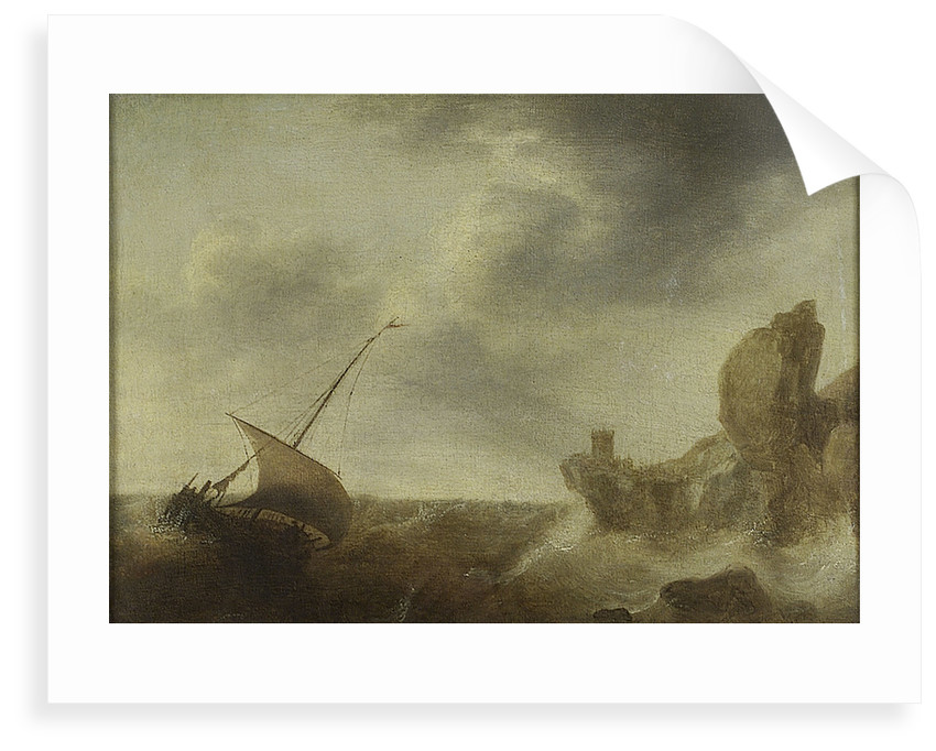 A small vessel beating off a rocky coast by Jacob Adriaensz Bellevois