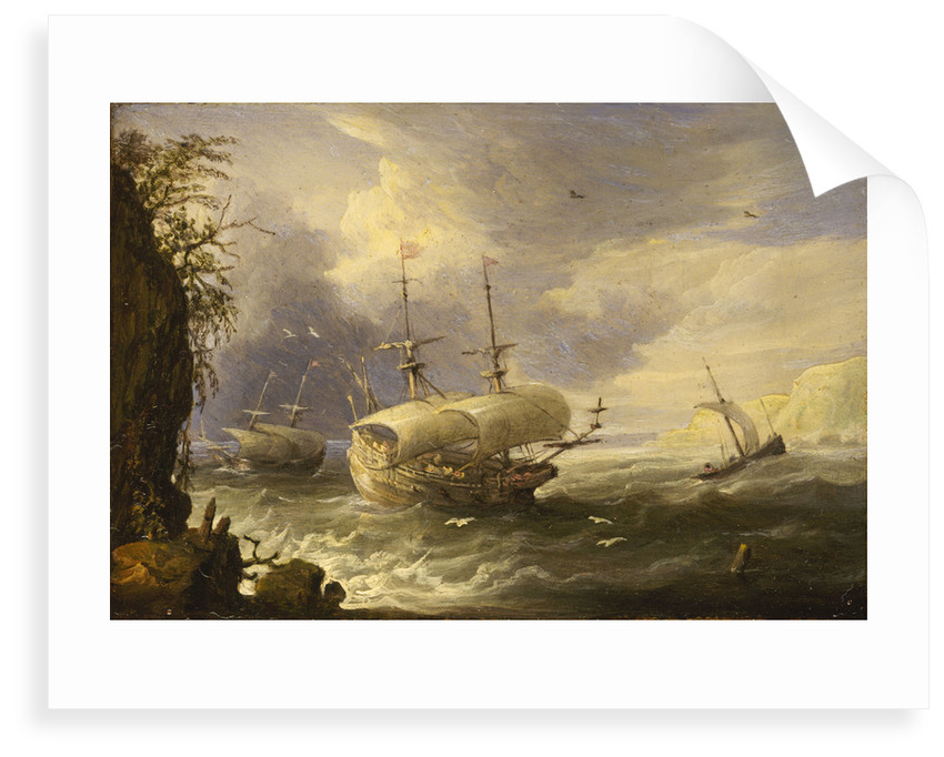 Shipping off a rocky coast by Pieter van den Velde