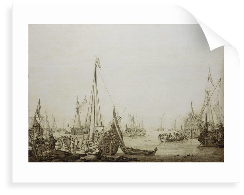 Calm: a Dutch bezan yacht and other vessels in a crowded harbour by Willem van de Velde the Elder