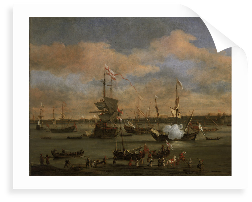 An English Merchant ship in a mediterranean harbour by Willem Van de Velde the Younger