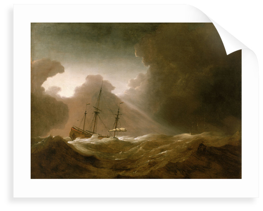 A Dutch ship scudding before a storm by Willem Van de Velde the Younger