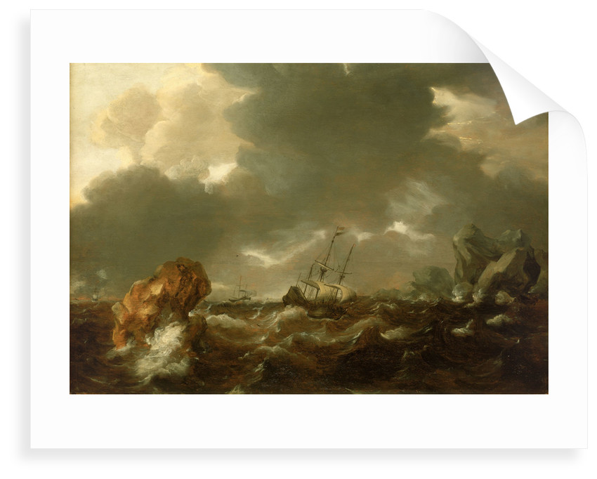 A Dutch merchant ship running between rocks in rough weather by Willem Van de Velde the Younger