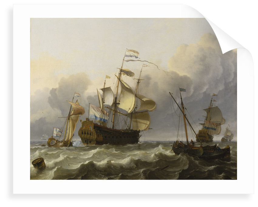 A Dutch flagship with a yacht under her stern by Ludolf Bakhuizen