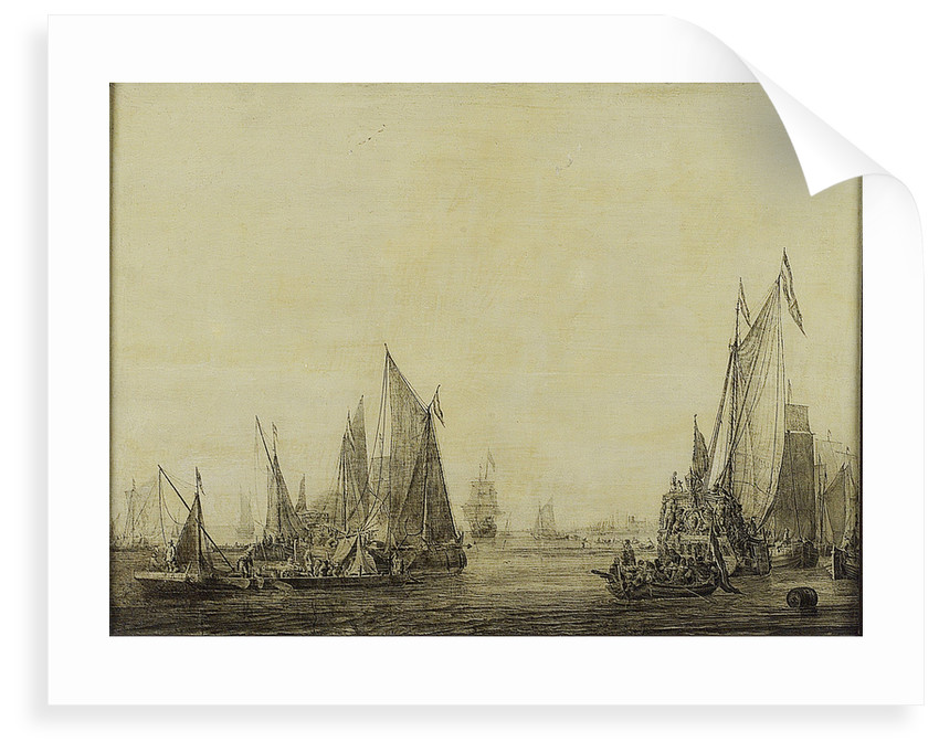Dutch shipping in a harbour by Ludolf Bakhuizen