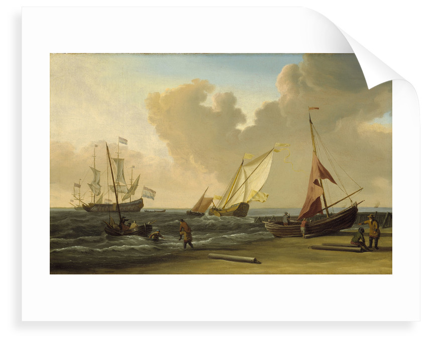 A fishing pink hauled up on the beach in a fresh breeze on the Dutch coast by Willem Van de Velde the Younger