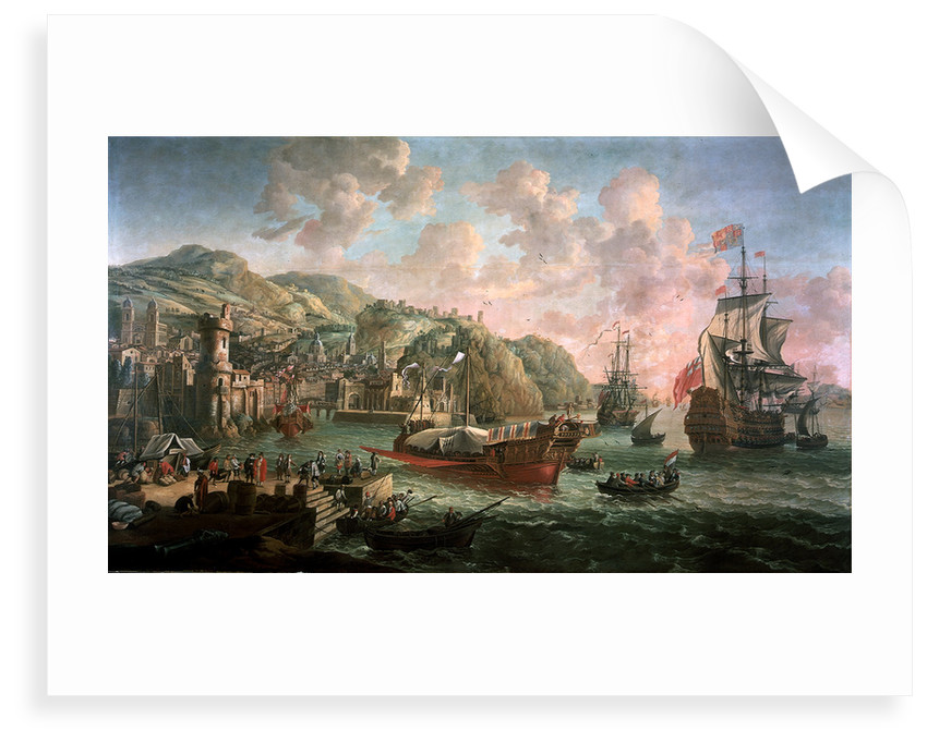 Ships, galleys and other vessels off an Italian port by Jacob Knyff