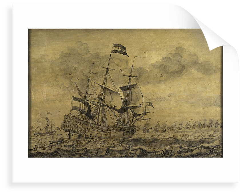 Dutch men-of-war joining the fleet by G. Vonk