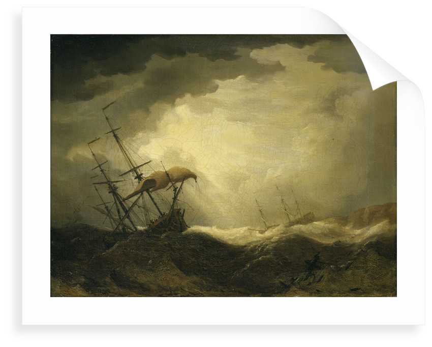 Ships driving onto a rocky shore in a heavy sea by Cornelis van de Velde