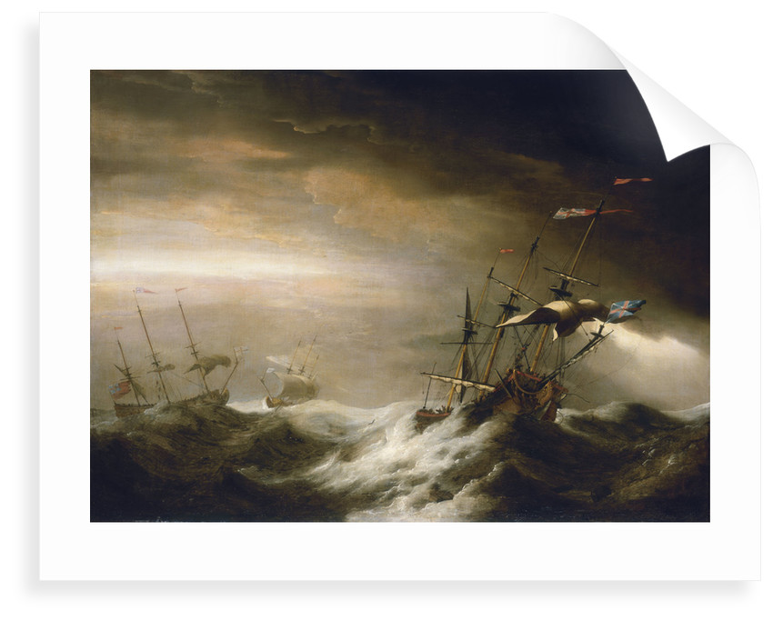 English ships in a storm by Johan van der Hagen