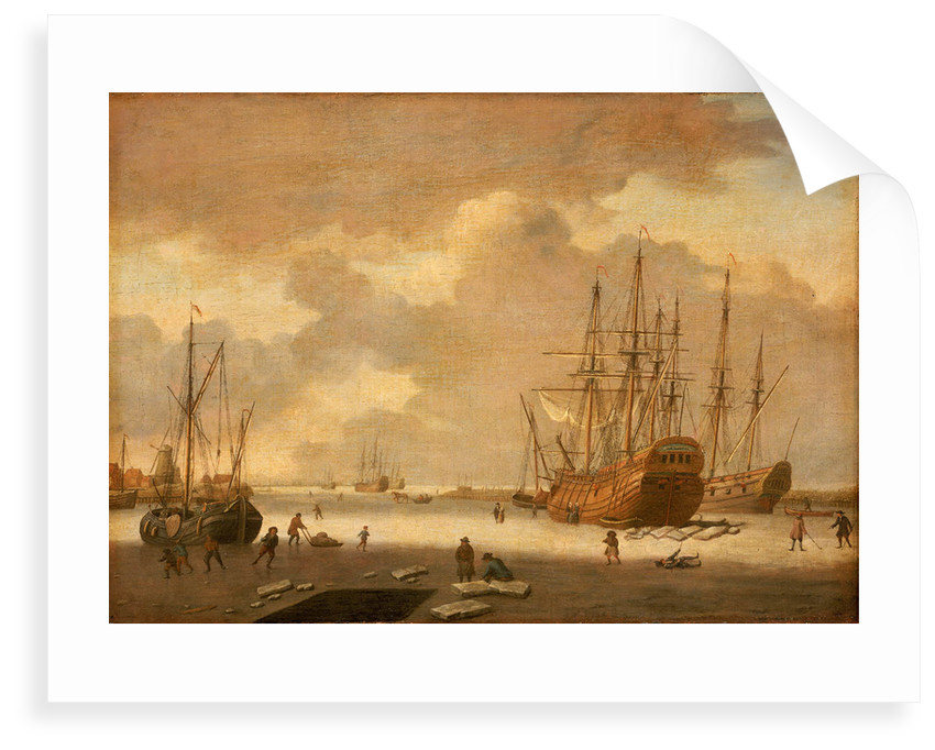 A Dutch whaler and other vessels in the ice by Adam Silo