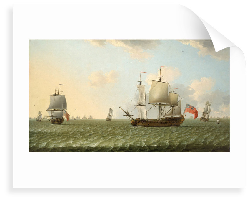 A fleet of East Indiamen by Francis Swaine