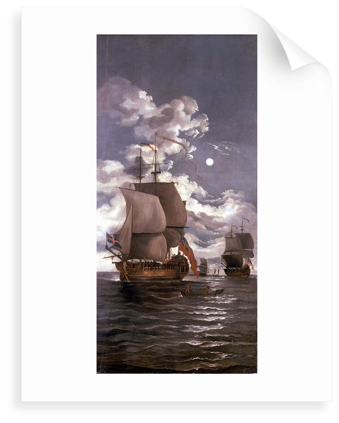 Moonlight scene: ships saluting by Monamy Swaine