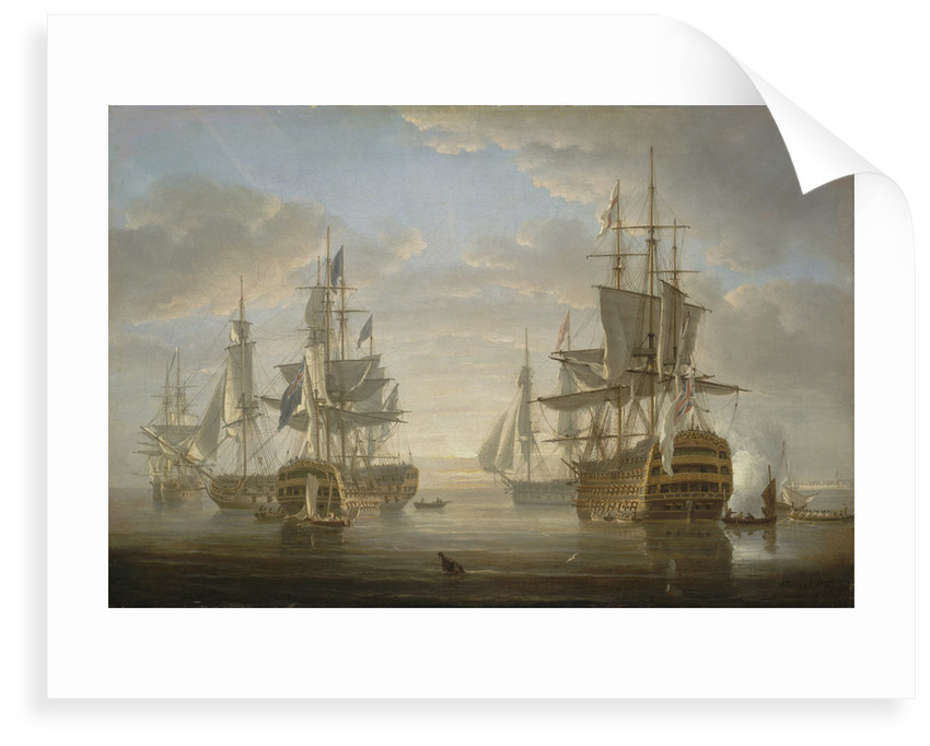 Nelson's flagships at anchor by Nicholas Pocock