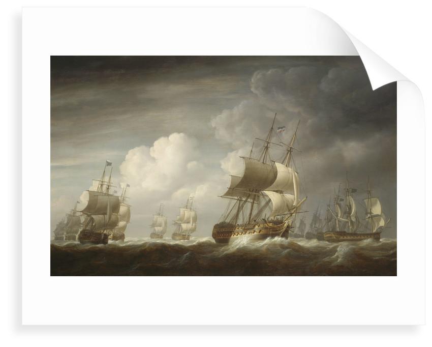 A fleet of East Indiamen at sea by Nicholas Pocock