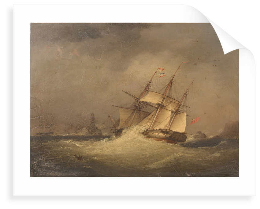 A frigate off a rocky coast by Nicolas Matthew Condy