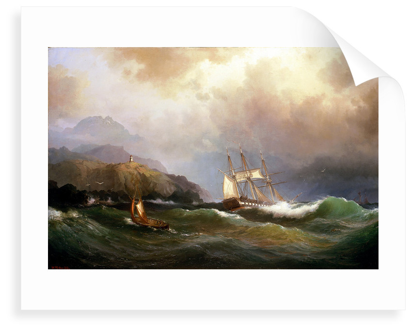 A frigate clawing off a rocky coast by Vilhelm Melbye